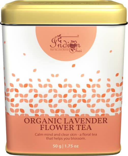 The Indian Chai Organic Lavender Flower Tea in Tin Container for Hair, Skin, Restful Sleep, Stress & Anxiety Lavender Herbal Infusion Tin