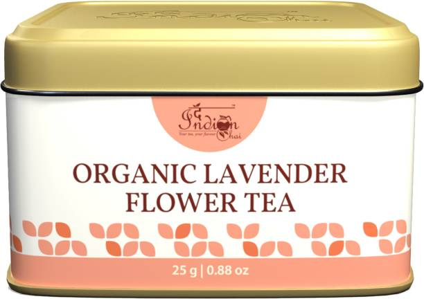 The Indian Chai Lavender Flower Tea in Tin Container for Hair, Skin, Restful Sleep, Stress & Anxiety Lavender Herbal Tea Tin