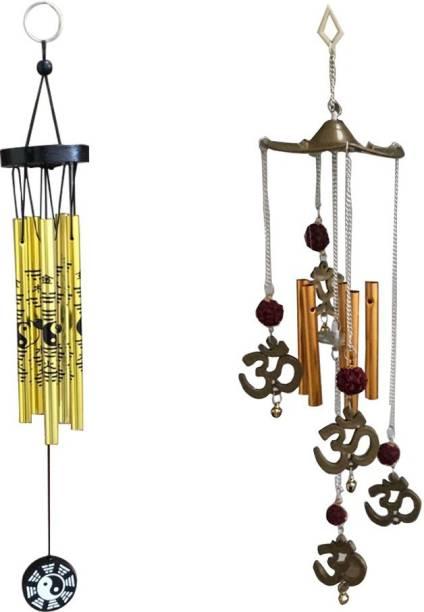 Ryme Feng Shui Combo Of Golden Yin Yang Windchime and Om Rudraksha Windchime Brass Windchime