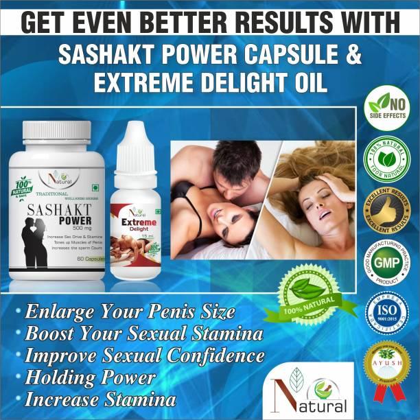 Floarkart Sashakt Power Natural Capsules & Extreme Delight Oil 100% Herbal
