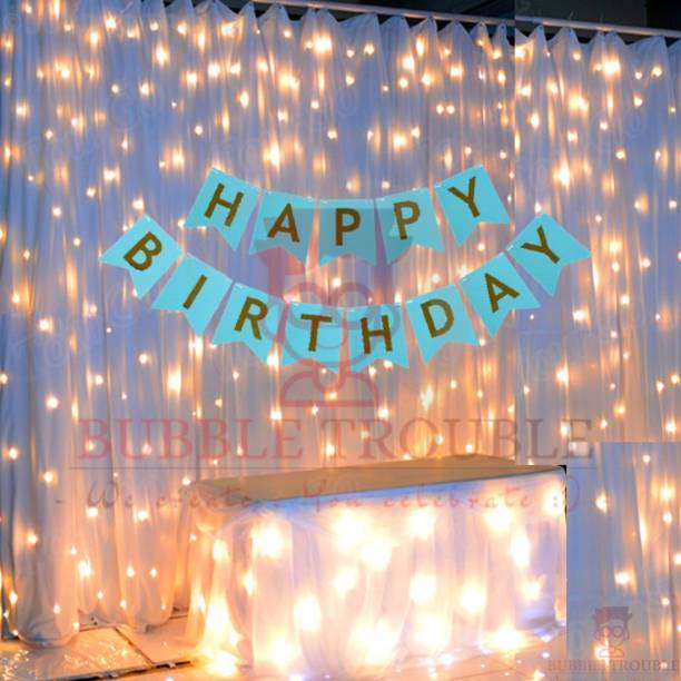 Bubble Trouble Blue Happy Birthday Banner With Fairy Light Combo (Set of 2) For Birthday Decoration for Boys, Girls, Boyfriend, Girlfriend, Husband,Kids Bday Celebrations,Bunting Tags,Flag Decorative Items Banner Banner