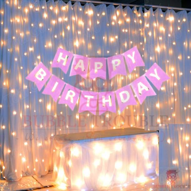 Bubble Trouble Pink Happy Birthday Banner With Fairy Light Combo (Set of 2) For Birthday Decoration for Boys, Girls, Boyfriend, Girlfriend, Husband,Kids Bday Celebrations,Bunting Tags,Flag Decorative Items Banner Banner