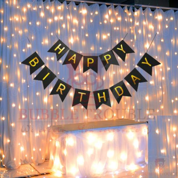 Bubble Trouble Black Happy Birthday Banner With Fairy Light Combo (Set of 2) For Birthday Decoration for Boys, Girls, Boyfriend, Girlfriend, Husband,Kids Bday Celebrations,Bunting Tags,Flag Decorative Items Banner Banner
