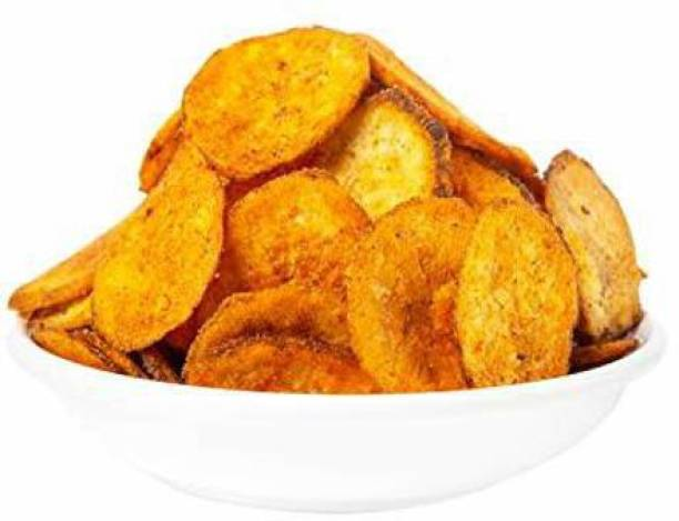 Delight Foods Chilli Banana Chips - Karnataka Classic Snacks |Fried in Cold Pressed Sunflower Oil | No Preservatives | Namkeen | Savory | Spicy Banana Chips Chips