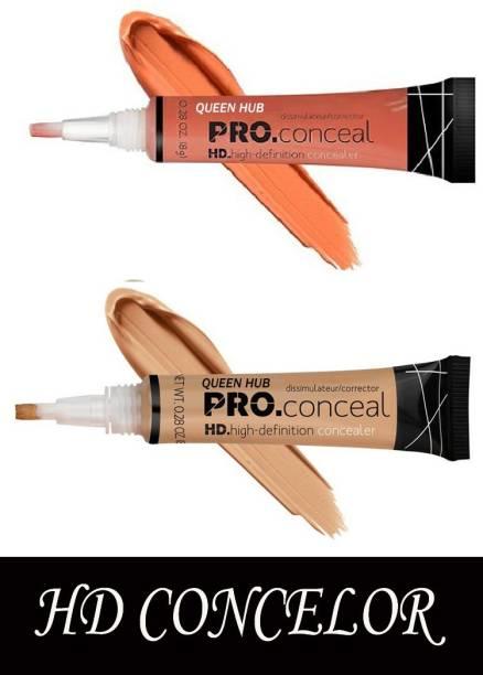 QUEEN HUB Pro HD Conceal Corrector Concealer 8 gr (ORANGE+BEIGE ) (pack of 2) Concealer