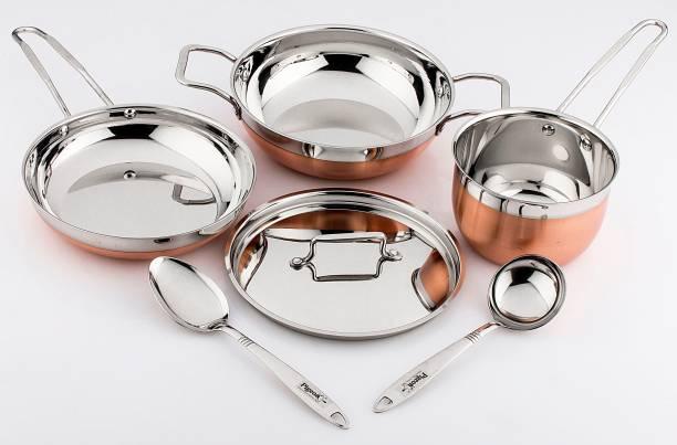 Pigeon Neo 6pcs Cookware Set (KADAI 1000ML+LID+S.P 1000ML+CUTE LADDLE-2+F.P 750ML) Cookware Set