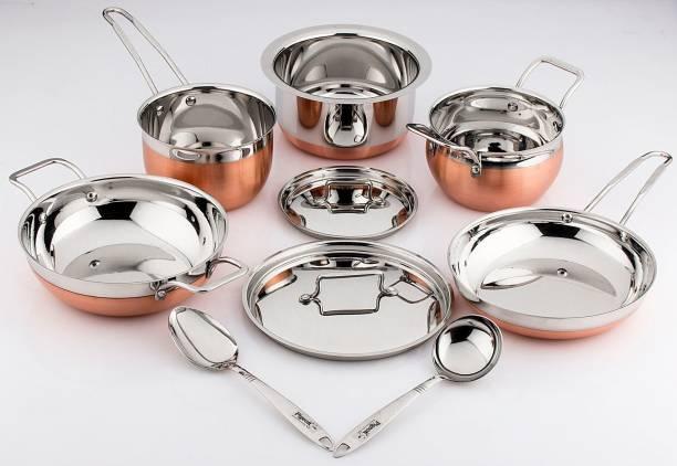 Pigeon Neo 9pcs Cookware Set (KADAI 1000ML+LID+S.P 1000ML+CUTE LADDLE-2+F.P 750ML+A.P 1000ML+LID+TOPE 1500ML) Cookware Set