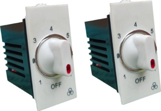 Hiru MODULAR FAN REGULATOR - 2 PCS 7 STEP FAN REGULATOR for Home & Office Step-Type Button Regulator