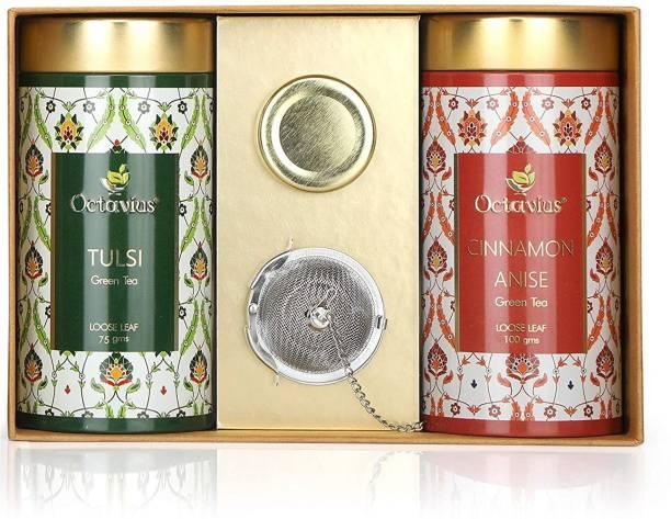 Octavius Tea Essentials Range   Immuni-Teas   2 Assorted Wellness Green Tea Blends   Tulsi & Cinnamon Anise  With a infuser and Mini Honey jar Combo