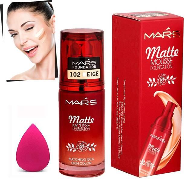 MARS combo of Matte Mousse Foundation+Blender Puff Sponge+ (3 Items in the set) Foundation
