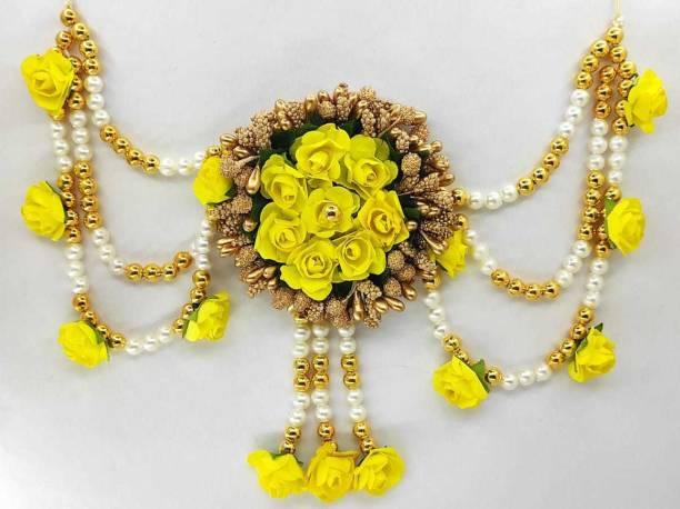 A2 Fashion Flower Embellished Latest Design Beaded Multilayered Hair Accessories/Gajra/Hair Jewellery Bun Clip Hair Chain