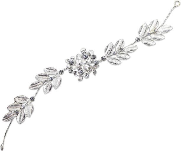 VAGHBHATT Silver Flower Party Bridal Fancy Hair Clip Headband Hair Accessories Tiara for Women and Girls (3Line Flower) Hair Chain