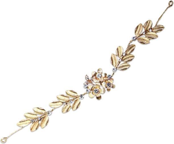 VAGHBHATT Gold Flower Party Bridal Fancy Hair Clip Headband Hair Accessories Tiara for Women and Girls (3Line Flower) Hair Chain
