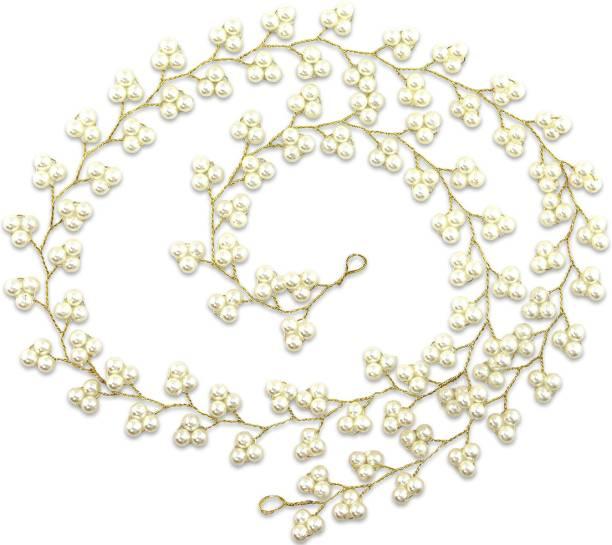 VAGHBHATT 80cm Veni Gold Moti Party Bridal Fancy Hair Clip Headband Hair Accessories Tiara for Women and Girls (3Line Flower) Hair Chain