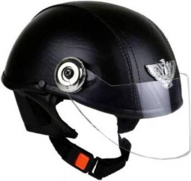 FDS Leather Cap Motorbike Helmet Black Motorbike Helmet