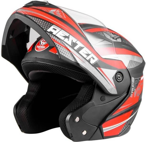 4U SUPREME Aester Flip-up Full Face ISI Marked 100% ABS with Unbreakable Visor Bike Helmet Motorbike Helmet