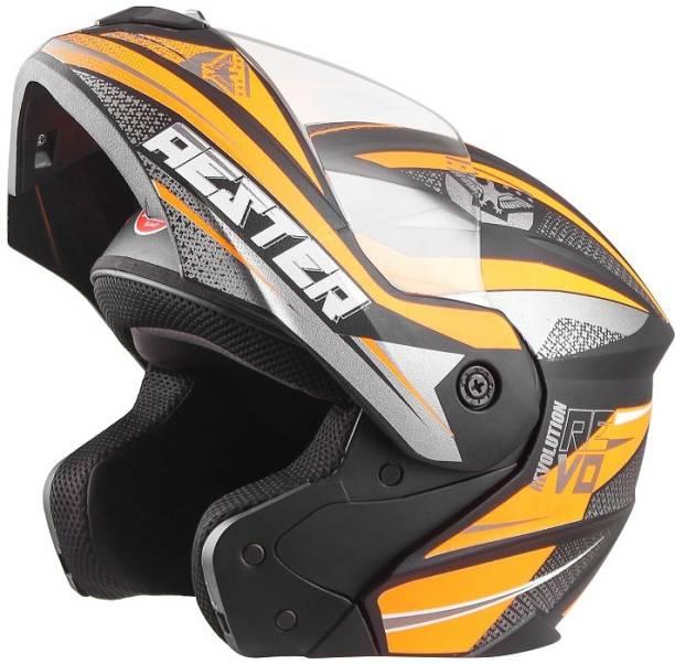 4U SUPREME Aester Flip-Up GP Full Face ISI Marked 100% ABS with Unbreakable Visor Bike Helmet Motorbike Helmet