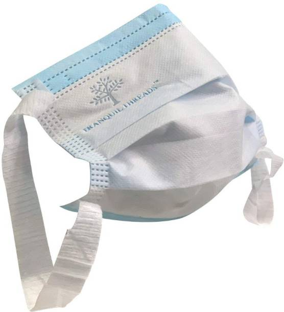 TRANQUIL THREADS 3Ply Face Masks with Meltblown Filter (EN14683 TYPE-IIR & BFE+99%) and Soft Non Woven Elastic Ear Loops, Softest Ear Loops (Pack of 100) TR01 Water Resistant, Reusable Surgical Mask With Melt Blown Fabric Layer