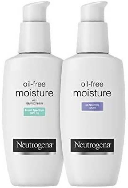 NEUTROGENA Oil-Free Daily Long Lasting Facial Moisturizer & Neck Cream, 4 fl. Oz With Oil-Free Facial Moisturizer, Sensitive Skin,