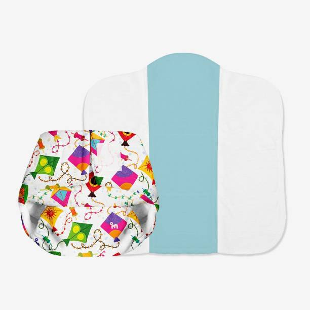 Superbottoms Newborn UNO - Washable & Reusable Nappy/ Cloth Diaper + 1 Organic Cotton Dry Feel Pad (2.5kg- 7kg Babies) (Coloured Skies)