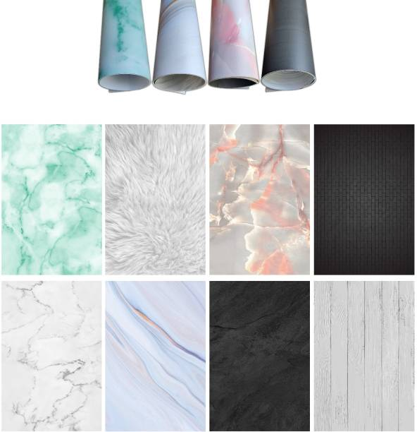 The Ace Card company (Pack of 4) Premium Flat Lay Flatlay Tabletop Photography Backdrop Background, Double Sided Waterproof Paper for Food, Jewelry, Cosmetics, Small Product Professional Photo Shoot (56x90cm) 8 Patterns Reflector