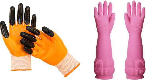 SS & WW 2 PAIR COMBO ONE RUBBER LATEX WATER RESISTANT FOR WASHING CLEANING LONG SLEEVE AND OTHER 100 % CUT RESISTANT GLOVES FOR GARDENING WORK IN HOMES AS WELL AS WELL AS PARKS Synthetic, Nitrile  Safety Gloves