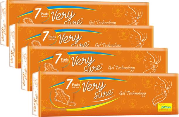 Very Sure Hygienic sanitary pads for women,girls regular size 28 pads pack of 4 Sanitary Pad