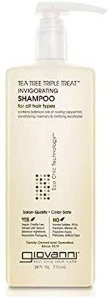 Giovanni Tea Tree Triple Treat Invigorating Shampoo, 24 oz. Cooling Peppermint, Conditioning Rosemary, Clarifying Eucalyptus, Hel