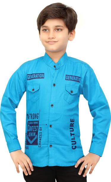 FOREVER YOUNG Boys Printed Party Light Blue Shirt
