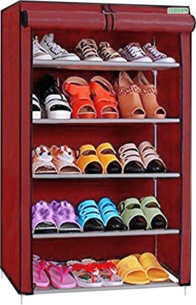 FLIPZON Premium 5-Tiers Shoe Rack/Multipurpose Storage Rack Metal Collapsible Shoe Stand