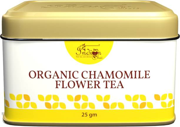The Indian Chai Chamomile Tea in Tin Container for Sleep, Stress and Anxiety, Caffeine Free Chamomile Herbal Tea Tin