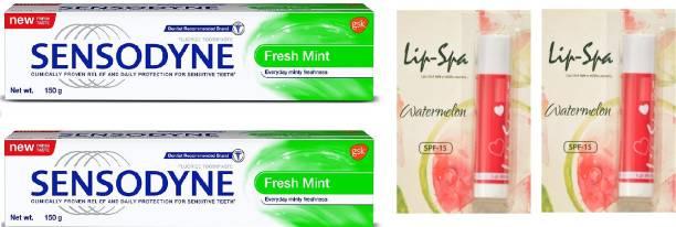 Sensodyne Sensitive Toothpaste - Fresh Mint toothpaste with 2 Lip balm