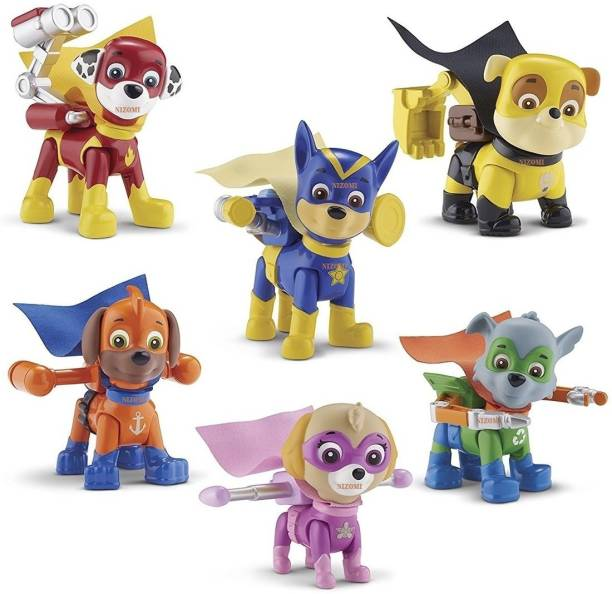 Nizomi 8 Pc Pup Buddies Rescue Team Action Figure Toys Set With All Pup In Unique Unbelievable Activity,Best Fun Toys For Kids,Superhero Pup Set In All Pup Is Action Mode,Multipurpose Best For Return Gift Cake Topper For Baby Shower,Latest Toys Version