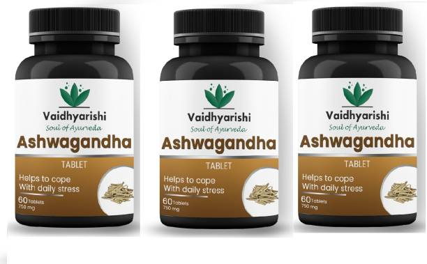 VAIDHYARISHI Ashwagandha Tablet Help To Cope With Daily Stress (750mg)each 60 tablets ,pack of 3 (180 Tablets)