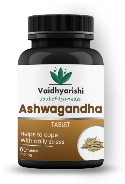 VAIDHYARISHI Ashwagandha Tablet Help To Cope With Daily Stress (750mg)each 60 tablets ,pack of 1 (60 Tablets)