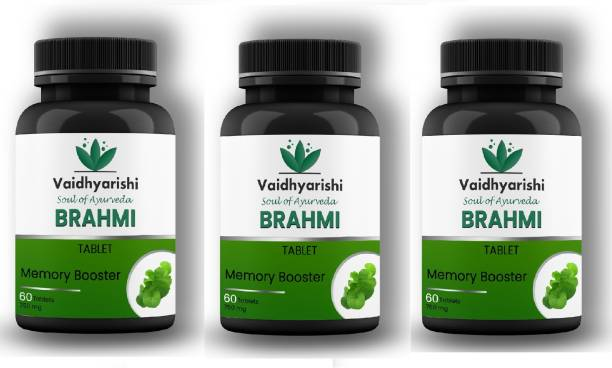 VAIDHYARISHI Brahmi Tablet Memory Booster (750mg) PACK OF 3 each 60 tablets (180 Tablets)