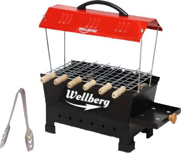 WELLBERG Electric & Charcoal Barbecue and Barbeque Grill & tandoor Stand for Home, Outdoor Picnic Camping and Traveling-Black Electric Grill