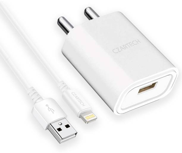 CZARTECH Fast Charging Wall Charger With Lightning Cable 10.5 W 2.1 A Mobile Charger with Detachable Cable