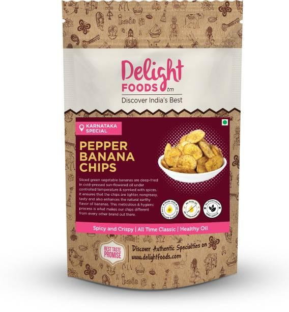 Delight Foods Pepper Banana Chips - Karnataka Classic Snacks |Fried in Cold Pressed Sunflower Oil | No Preservatives | Namkeen | Savory | Flavored Banana Chips Chips