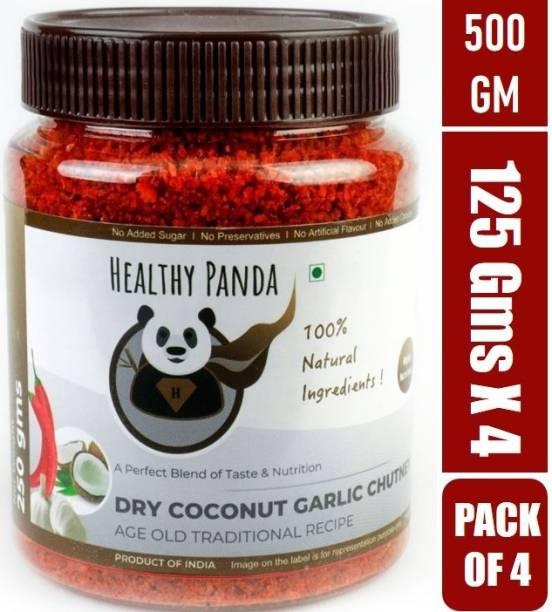 HEALTHY PANDA Dry Coconut Garlic Chutney also known as Khobra Lasun Chatni, Kobbari Chatani, Dry Nariyal Chutni (100% Natural & Healthy) - 125 Gram, Pack of4 Chutney Powder