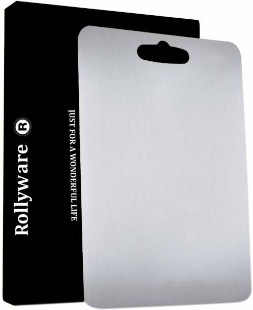 ROLLYWARE Premium Stainless Steel Chopping Board, Antibacterial Vegetable Cutting Board for Kitchen, Multipurpose & Easy to Store, Anti- Smell & Food Grade Steel, Suitable for Chopping, Dicing & Slicing Stainless Steel Cutting Board