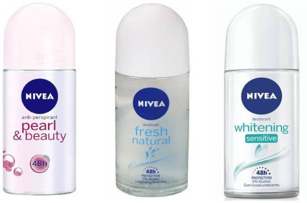 NIVEA Pearl Beauty , Fresh Natural And Whitening Sensitive Roll On Deodorant Stick  -  For Women