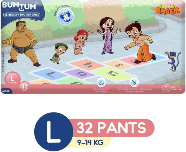 Bumtum Chhota Bheem Premium Baby Pull-Up Diaper Pants with Aloe Vera,Wetness Indicator and 12 Hours Absorption - Large - L
