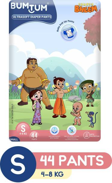Bumtum Chhota Bheem Premium Baby Pull-Up Diaper Pants with Aloe Vera,Wetness Indicator and 12 Hours Absorption - Small - S