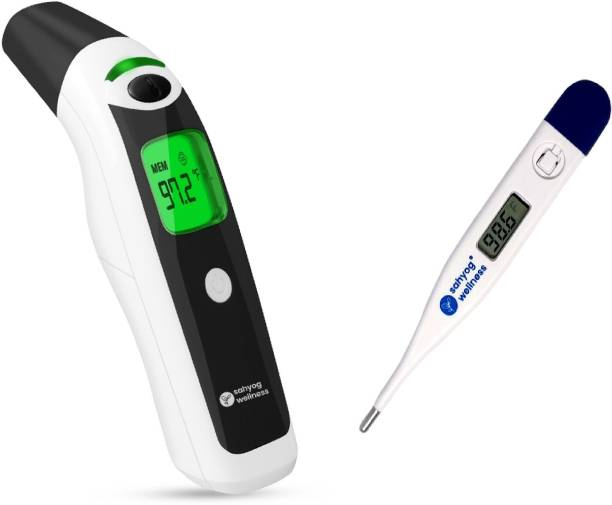 Sahyog Wellness HET-R1611 Multi Function Non-Contact Forehead & Ear Infrared Thermometer with IR Sensor, Color Changing Display & 1 Digital Thermometer