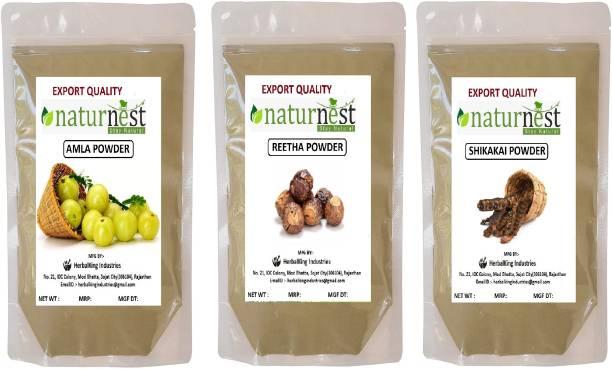 NatureNest 100% pure Amla Reetha Shikakai powder combo pack of 3
