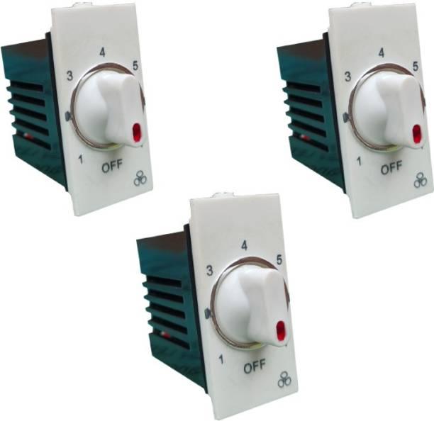 Hiru MODULAR FAN REGULATOR - 3 PCS 7 STEP FAN REGULATOR for Home & Office Step-Type Button Regulator