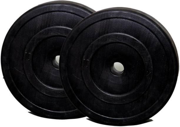FitBox Sports Intruder PVC Weight Plates for Home Gym & Dumbbells (10kg x 2) Black Weight Plate