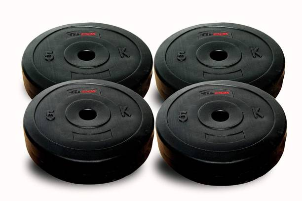 FitBox Sports Intruder PVC Weight Plates for Home Gym & Dumbbells (5kg x 4) Black Weight Plate