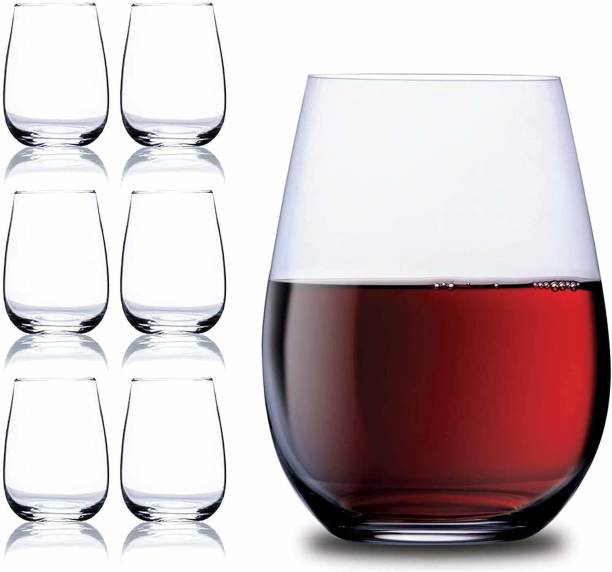 Fulkiza (Pack of 6) Stemless Wine Glass ( 400 ML ) Set Of 6 Glass Set